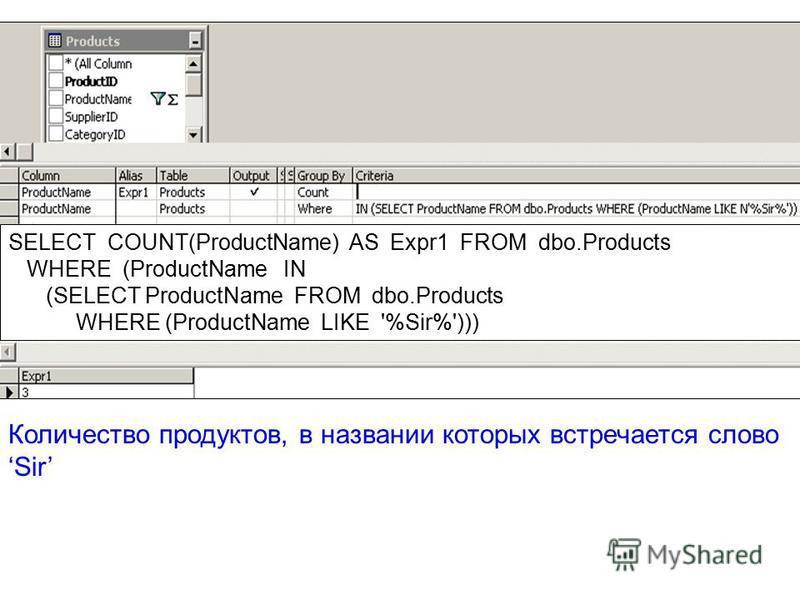 Количество продуктов, в названии которых встречается слово Sir SELECT COUNT(ProductName) AS Ехрr1 FROM dbo.Products WHERE (ProductName IN (SELECT ProductName FROM dbo.Products WHERE (ProductName LIKE '%Sir%')))