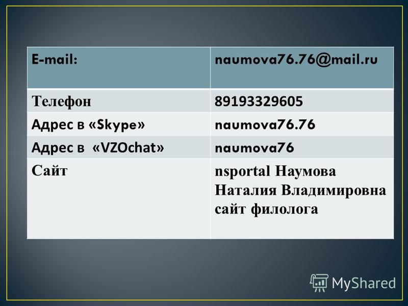 E-mail:naumova76.76@mail.ru Телефон 89193329605 Адрес в «Skype» naumova76.76 Адрес в « VZOchat » naumova76 Сайтnsportal Наумова Наталия Владимировна сайт филолога