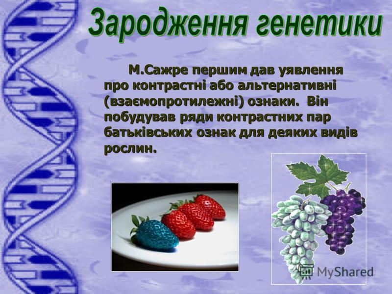 М.Сажре першим дав уявлення про контрастні або альтернативні (взаємопротилежні) ознаки. Він побудував ряди контрастних пар батьківських ознак для деяких видів рослин.