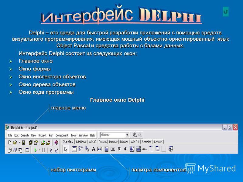 Delphi – это среда для быстрой разработки приложений с помощью средств визуального программирования, имеющая мощный объектно-ориентированный язык Object Pascal и средства работы с базами данных. Интерфейс Delphi состоит из следующих окон: Главное окн