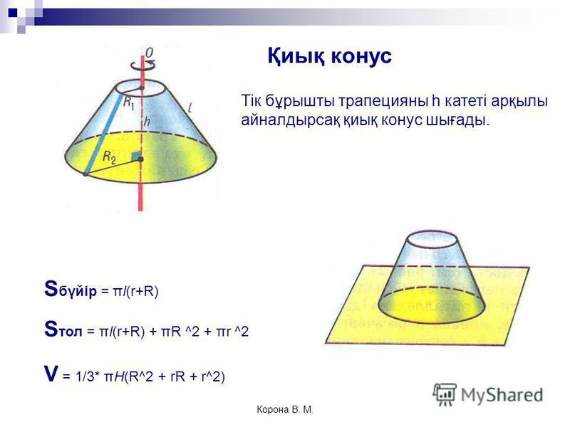 Тік бұрышты трапецияны h катеті арқылы айналдырсақ қиық конус шығады. S бүйір = πl(r+R) S тол = πl(r+R) + πR ^2 + πr ^2 V = 1/3* πH(R^2 + rR + r^2) Қиық конус Корона В. М.