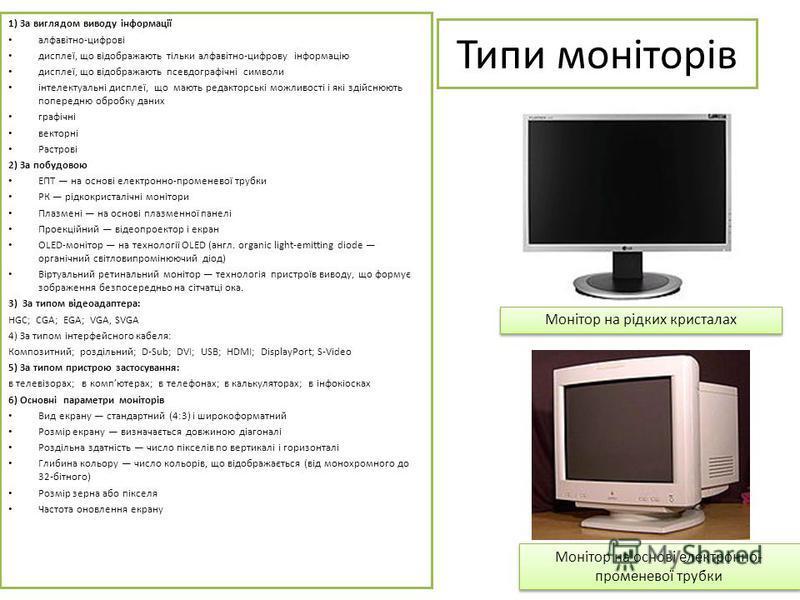 Типи моніторів 1) За виглядом виводу інформації алфавітно-цифрові дисплеї, що відображають тільки алфавітно-цифрову інформацію дисплеї, що відображають псевдографічні символи інтелектуальні дисплеї, що мають редакторські можливості і які здійснюють п