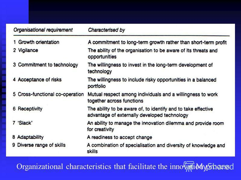 Organizational characteristics that facilitate the innovation process
