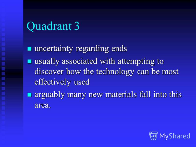 Quadrant 3 uncertainty regarding ends uncertainty regarding ends usually associated with attempting to discover how the technology can be most effectively used usually associated with attempting to discover how the technology can be most effectively