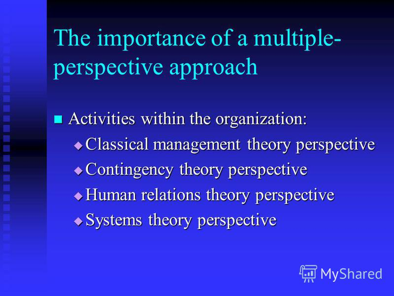 The importance of a multiple- perspective approach Activities within the organization: Activities within the organization: Classical management theory perspective Classical management theory perspective Contingency theory perspective Contingency theo