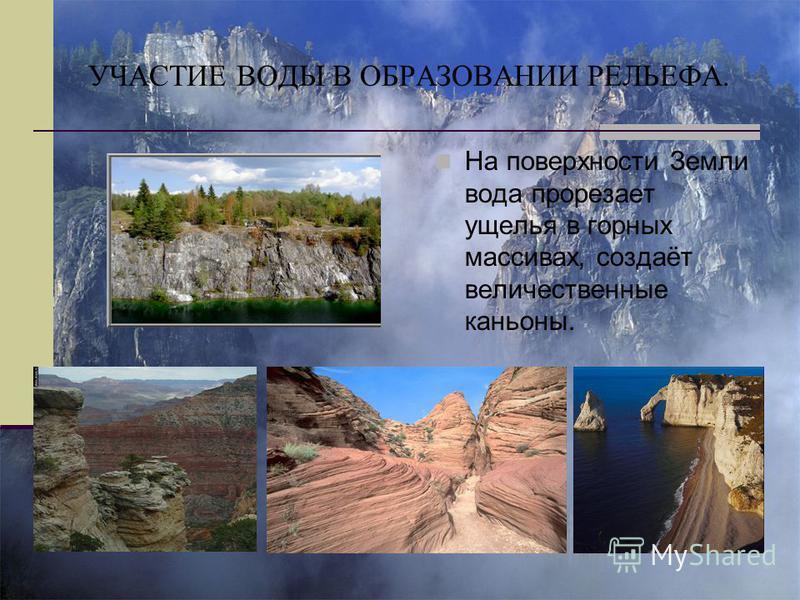 УЧАСТИЕ ВОДЫ В ОБРАЗОВАНИИ РЕЛЬЕФА. На поверхности Земли вода прорезает ущелья в горных массивах, создаёт величественные каньоны.