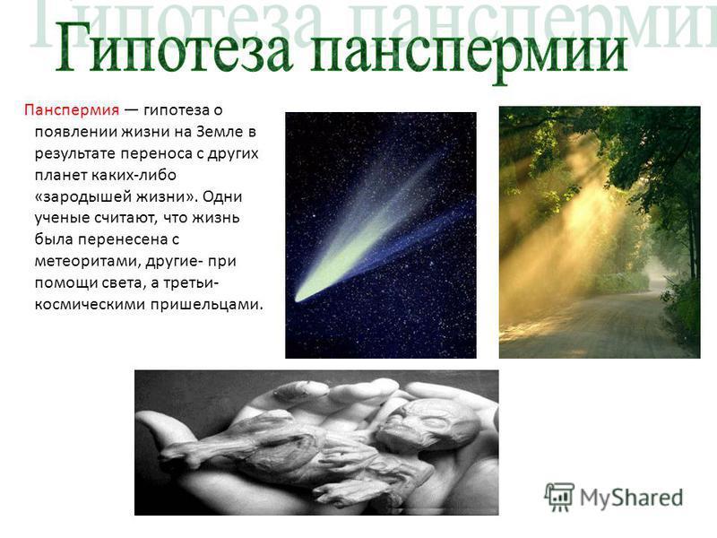 Панспермия гипотеза о появлении жизни на Земле в результате переноса с других планет каких-либо «зародышей жизни». Одни ученые считают, что жизнь была перенесена с метеоритами, другие- при помощи света, а третьи- космическими пришельцами.