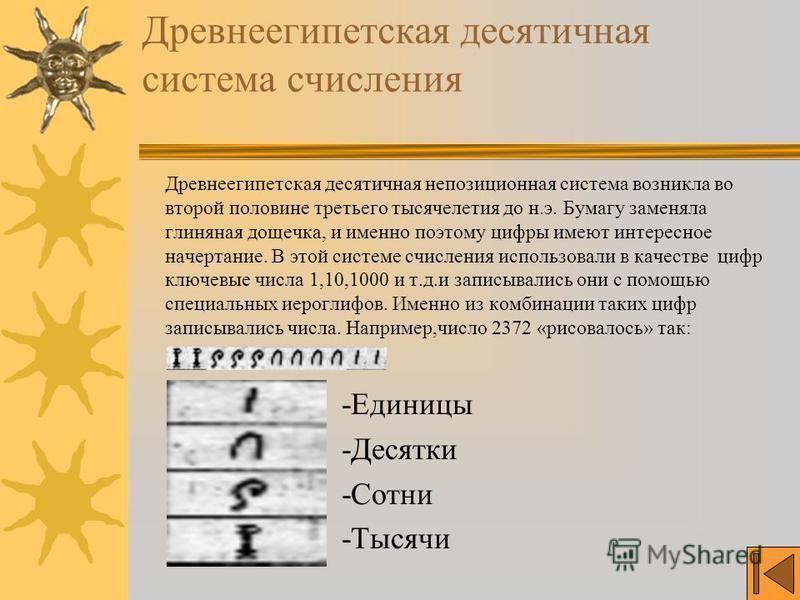 Древнеегипетская десятичная система счисления Древнеегипетская десятичная непозиционная система возникла во второй половине третьего тысячелетия до н.э. Бумагу заменяла глиняная дощечка, и именно поэтому цифры имеют интересное начертание. В этой сист