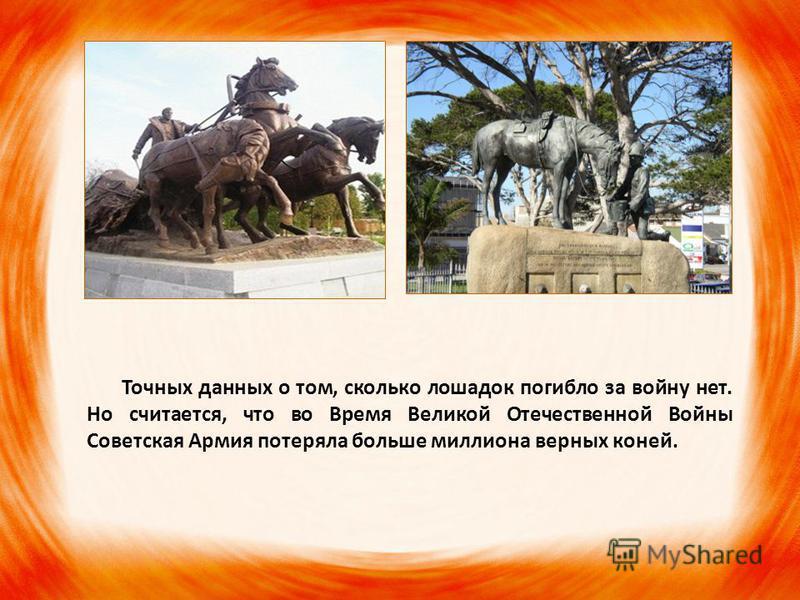Точных данных о том, сколько лошадок погибло за войну нет. Но считается, что во Время Великой Отечественной Войны Советская Армия потеряла больше миллиона верных коней.