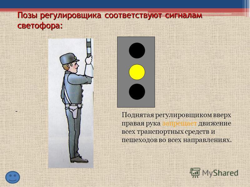 Позы регулировщика соответствуют сигналам светофора: Руки регулировщика опущены или вытянуты в стороны – со стороны груди и спины движение всех транспортных средств и пешеходов запрещено. -