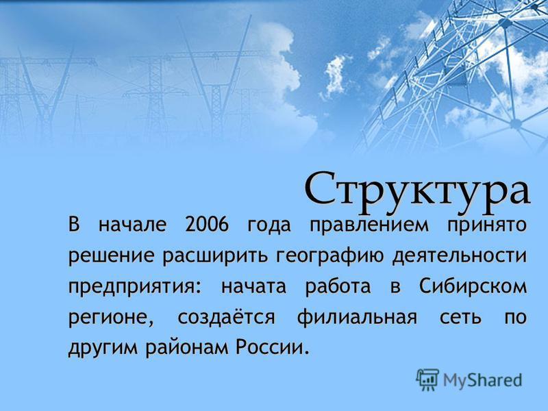В начале 2006 года правлением принято решение расширить географию деятельности предприятия: начата работа в Сибирском регионе, создаётся филиальная сеть по другим районам России. Структура