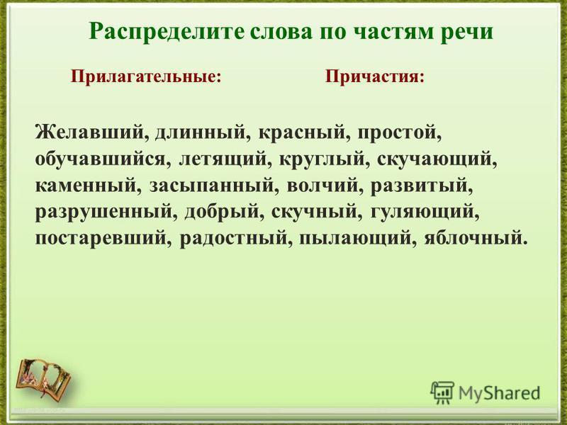 http://aida.ucoz.ru Распределите слова по частям речи Прилагательные:Причастия: Желавший, длинный, красный, простой, обучавшийся, летящий, круглый, скучающий, каменный, засыпанный, волчий, развитый, разрушенный, добрый, скучный, гуляющий, постаревший