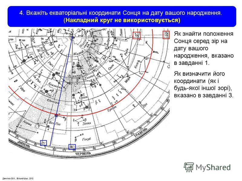 Данилюк В.М., Вільногірськ, 2012 4. Вкажіть екваторіальні координати Сонця на дату вашого народження. (Накладний круг не використовується) Як знайти положення Сонця серед зір на дату вашого народження, вказано в завданні 1. Як визначити його координа