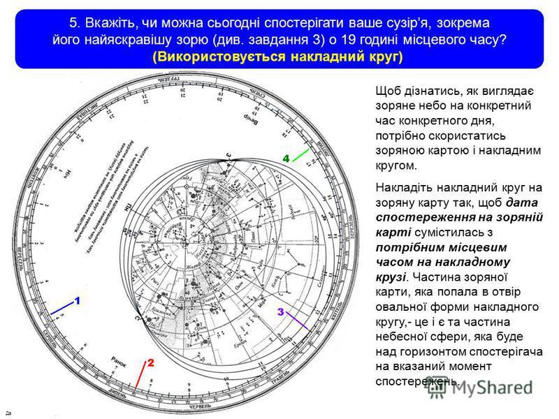 Данилюк В.М., Вільногірськ, 2012 5. Вкажіть, чи можна сьогодні спостерігати ваше сузіря, зокрема його найяскравішу зорю (див. завдання 3) о 19 годині місцевого часу? (Використовується накладний круг) Щоб дізнатись, як виглядає зоряне небо на конкретн