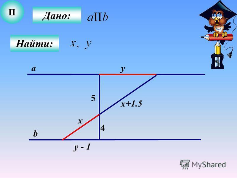 П Дано: Найти: 4 5 a b x х+1.5 y y - 1