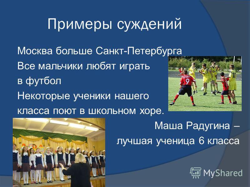 Примеры суждений Москва больше Санкт-Петербурга Все мальчики любят играть в футбол Некоторые ученики нашего класса поют в школьном хоре. Маша Радугина – лучшая ученица 6 класса