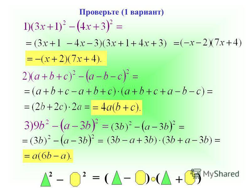 2 _ 2 = _ ()() + Проверьте (1 вариант)