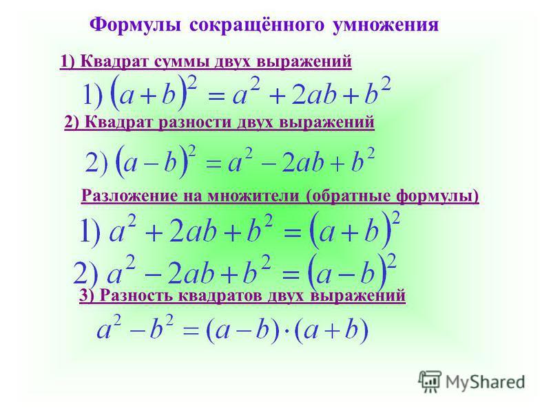 Формулы сокращённого умножения 1) Квадрат суммы двух выражений 2) Квадрат разности двух выражений Разложение на множители (обратные формулы) 3) Разность квадратов двух выражений