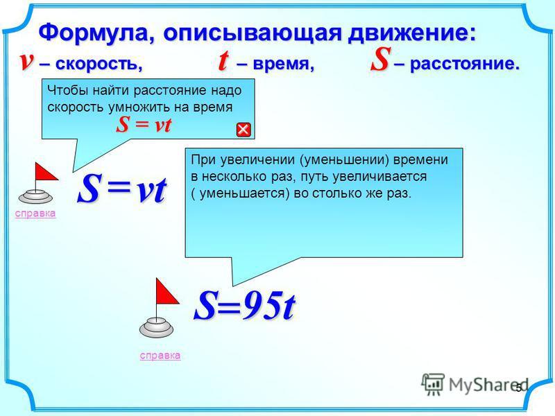 Формула, описывающая движение: vtS S 95t справкаt – время, S – расстояние. v – скорость, При увеличении (уменьшении) времени в несколько раз, путь увеличивается ( уменьшается) во столько же раз. справка Чтобы найти расстояние надо скорость умножить н