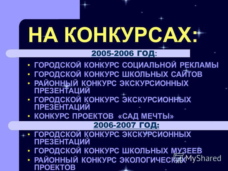 НА КОНКУРСАХ: 2005-2006 ГОД : ГОРОДСКОЙ КОНКУРС СОЦИАЛЬНОЙ РЕКЛАМЫ ГОРОДСКОЙ КОНКУРС ШКОЛЬНЫХ САЙТОВ РАЙОННЫЙ КОНКУРС ЭКСКУРСИОННЫХ ПРЕЗЕНТАЦИЙ ГОРОДСКОЙ КОНКУРС ЭКСКУРСИОННЫХ ПРЕЗЕНТАЦИЙ КОНКУРС ПРОЕКТОВ «САД МЕЧТЫ» 2006-2007 ГОД: ГОРОДСКОЙ КОНКУРС