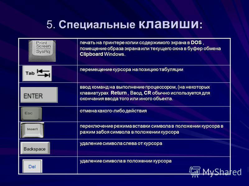 5. Специальные клавиши : печать на принтере копии содержимого экрана в DOS, помещение образа экрана или текущего окна в буфер обмена Clipboard Windows. перемещение курсора на позицию табуляции ввод команд на выполнение процессором, (на некоторых клав