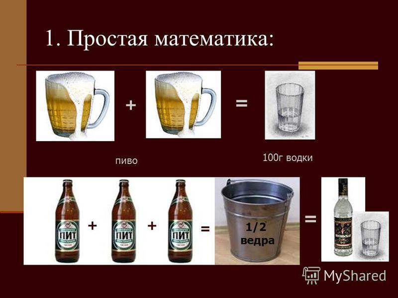 + = пиво 100 г водки 1. Простая математика: + + = 1/2 ведра =