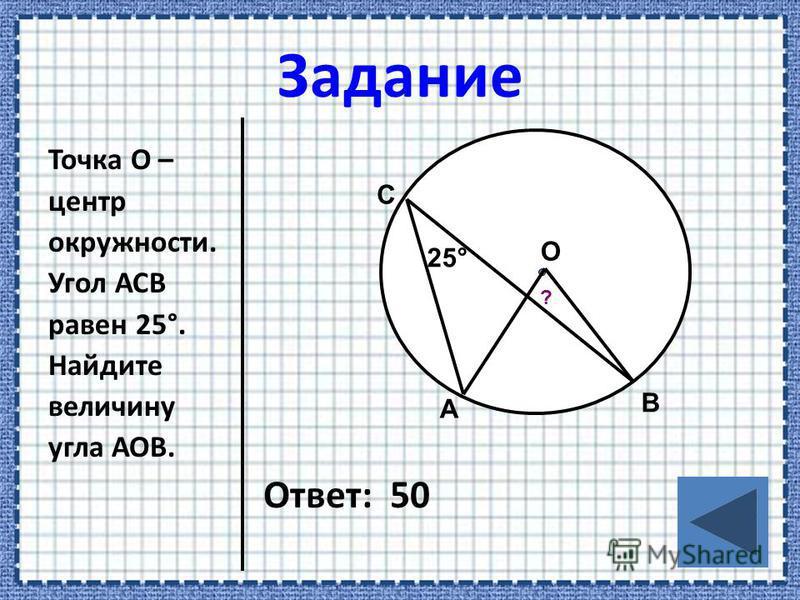 Точка О – центр окружности. Угол АСВ равен 25°. Найдите величину угла АОВ. Ответ: 50 А О С В 25° ?