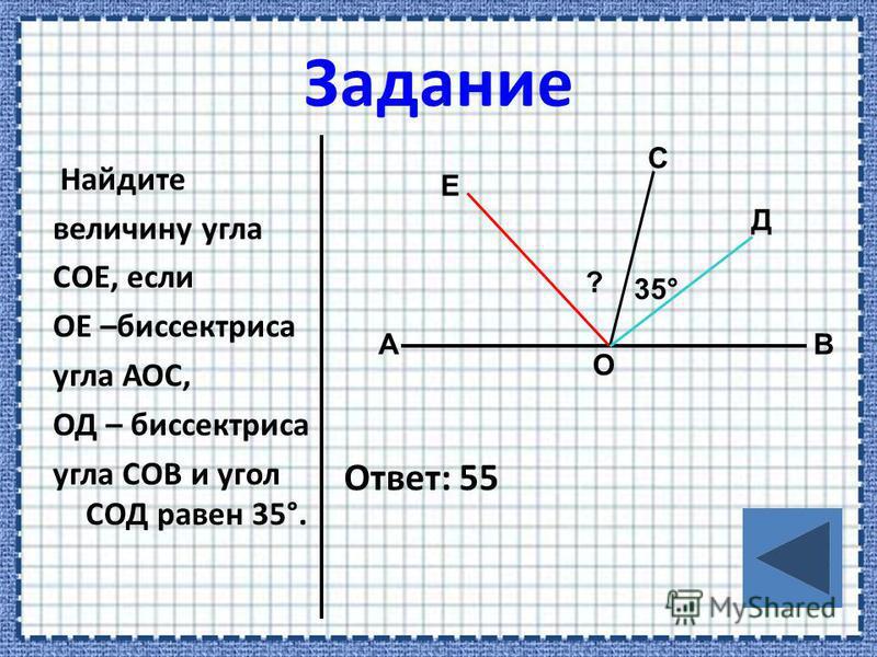 Найдите величину угла СОЕ, если ОЕ –биссектриса угла АОС, ОД – биссектриса угла СОВ и угол СОД равен 35°. Ответ: 55 А О Е С В Д ? 35°