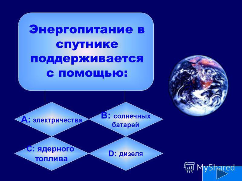 А: электричества B: солнечных батарей C: ядерного топлива D: дизеля Энергопитание в спутнике поддерживается с помощью: