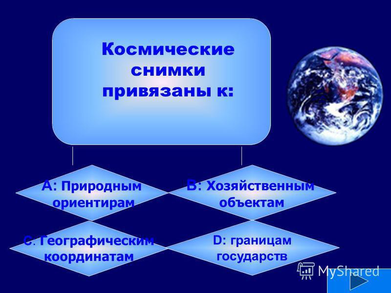 А: Природным ориентирам B: Хозяйственным объектам C: Географическим координатам D: границам государств Космические снимки привязаны к: