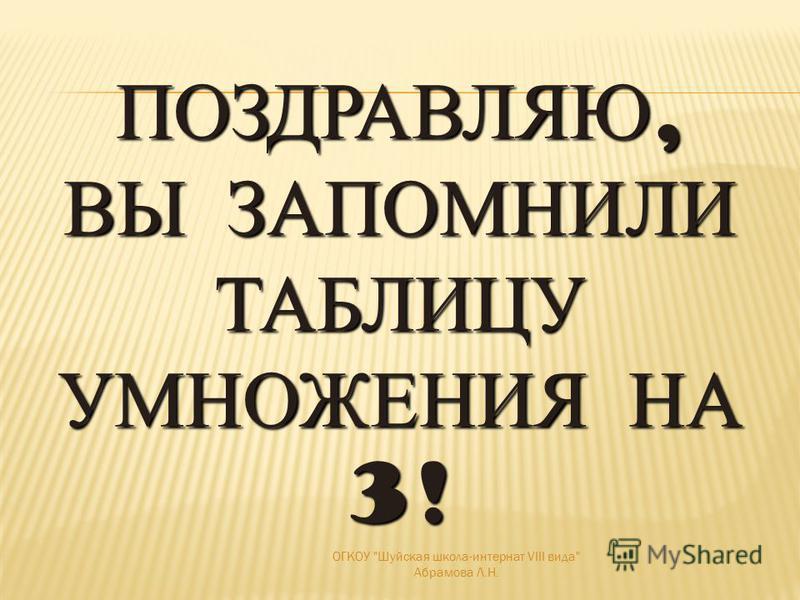 3·103·10 3030691215182124273 ОГКОУ Шуйская школа-интернат VIII вида Абрамова Л.Н.