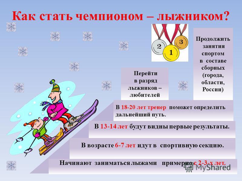 Как стать чемпионом – лыжником? Начинают заниматься лыжами примерно с 2-3-х лет. В 18-20 лет тренер поможет определить дальнейший путь. В 13-14 лет будут видны первые результаты. В возрасте 6-7 лет идут в спортивную секцию. Перейти в разряд лыжников