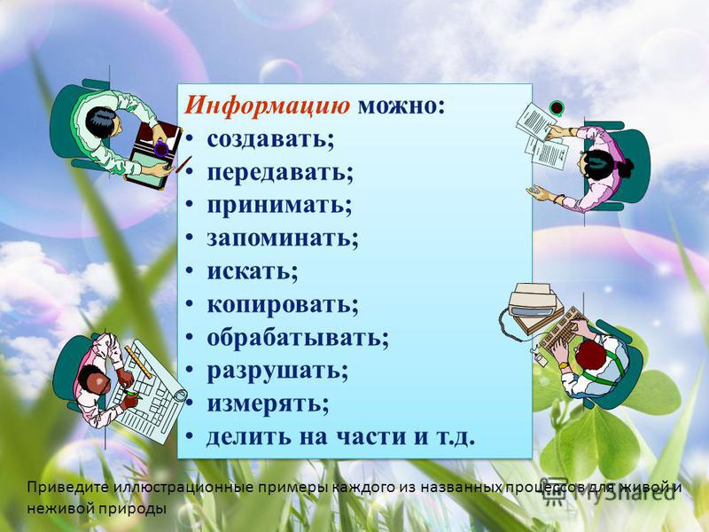 Информацию можно: создавать; передавать; принимать; запоминать; искать; копировать; обрабатывать; разрушать; измерять; делить на части и т.д. Информацию можно: создавать; передавать; принимать; запоминать; искать; копировать; обрабатывать; разрушать;