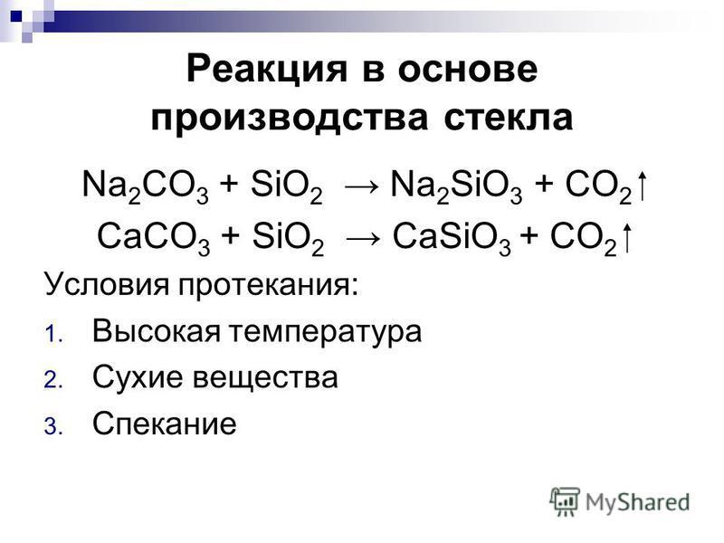 Реакция в основе производства стекла Na 2 CO 3 + SiO 2 Na 2 SiO 3 + CO 2 CaCO 3 + SiO 2 CaSiO 3 + CO 2 Условия протекания: 1. Высокая температура 2. Сухие вещества 3. Спекание