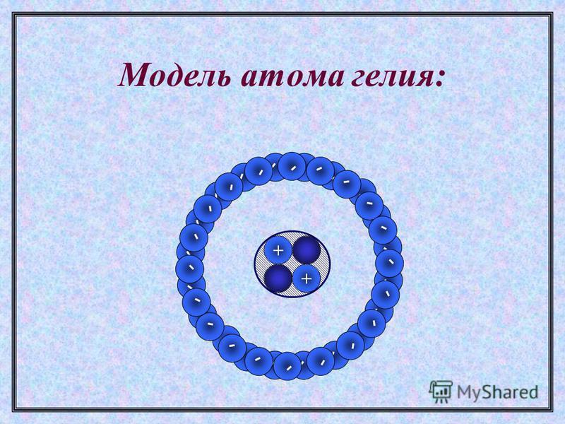 Модель атома гелия: + + - - - - - - - - - - - - - - - - - - - - - - - - - - - - - - - - - - - - - - - -