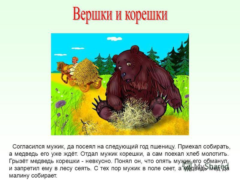 Согласился мужик, да посеял на следующий год пшеницу. Приехал собирать, а медведь его уже ждёт. Отдал мужик корешки, а сам поехал хлеб молотить. Грызёт медведь корешки - невкусно. Понял он, что опять мужик его обманул, и запретил ему в лесу сеять. С