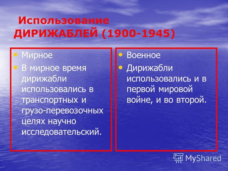Использование ДИРИЖАБЛЕЙ (1900-1945) Мирное В мирное время дирижабли использовались в транспортных и грузов-перевозочных целях научно исследовательский. Военное Дирижабли использовались и в первой мировой войне, и во второй.