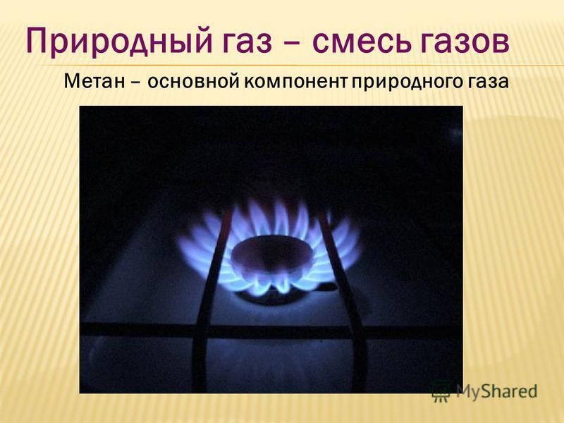 Природный газ – смесь газов Метан – основной компонент природного газа
