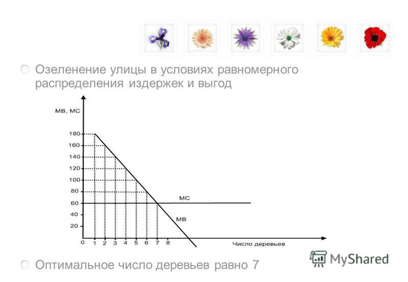 Озеленение улицы в условиях равномерного распределения издержек и выгод Оптимальное число деревьев равно 7