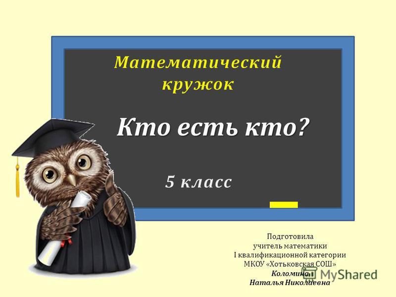 Подготовила учитель математики Ι квалификационной категории МКОУ «Хотьковская СОШ» Коломина Наталья Николаевна Кто есть кто?