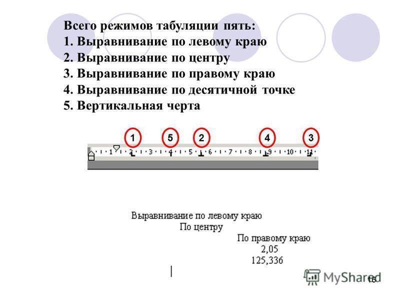 16 Всего режимов табуляции пять: 1. Выравнивание по левому краю 2. Выравнивание по центру 3. Выравнивание по правому краю 4. Выравнивание по десятичной точке 5. Вертикальная черта 12345