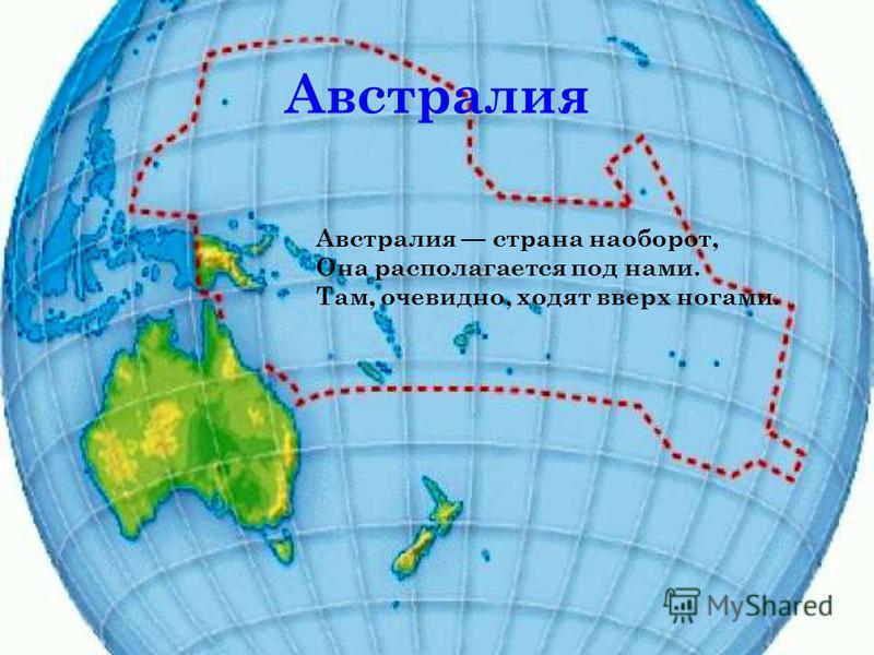 Австралия Австралия страна наоборот, Она располагается под нами. Там, очевидно, ходят вверх ногами.