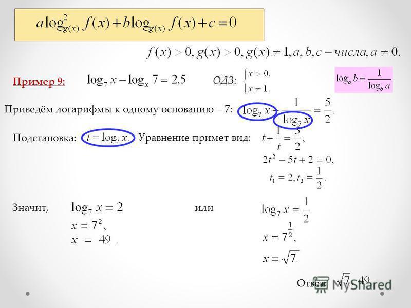 Пример 9: Ответ: ОДЗ: Приведём логарифмы к одному основанию – 7: Подстановка: Уравнение примет вид: Значит,или
