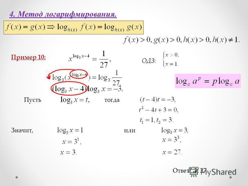 4. Метод логарифмирования. Пример 10: Ответ: 3; 27. ОДЗ: Пустьтогда Значит,или