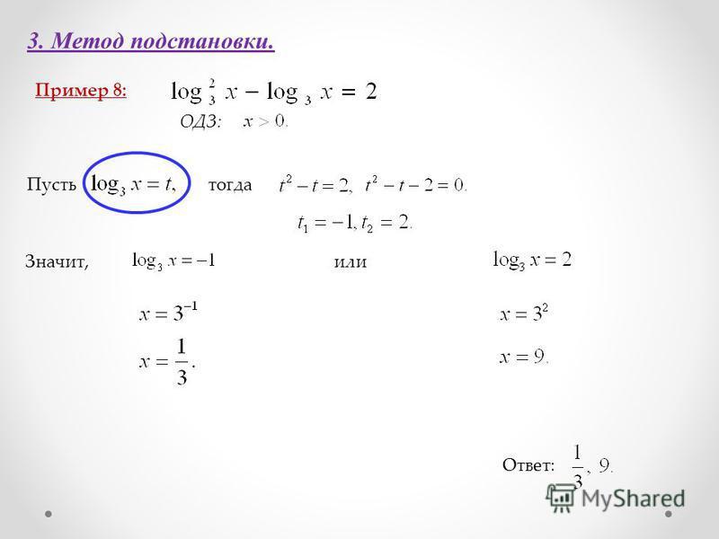 3. Метод подстановки. Пример 8: Ответ: ОДЗ: Пустьтогда Значит,или