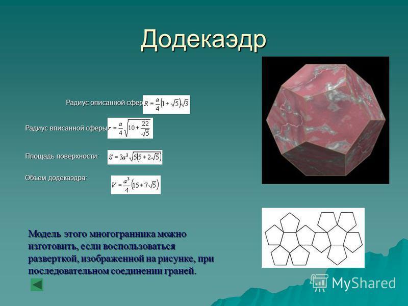 Додекаэдр Радиус описанной сферы: Радиус вписанной сферы: Площадь поверхности: Объем додекаэдра: Модель этого многогранника можно изготовить, если воспользоваться разверткой, изображенной на рисунке, при последовательном соединении граней.