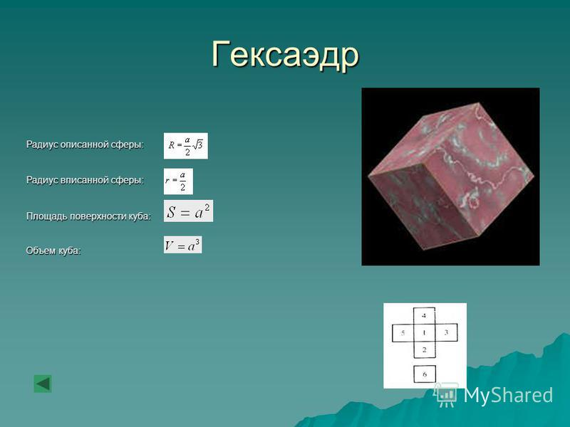 Гексаэдр Радиус описанной сферы: Радиус вписанной сферы: Площадь поверхности куба: Объем куба: