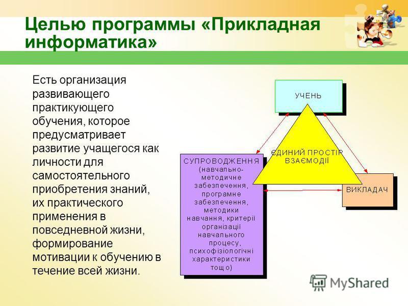 Целью программы «Прикладная информатика» Есть организация развивающего практикующего обучения, которое предусматривает развитие учащегося как личности для самостоятельного приобретения знаний, их практического применения в повседневной жизни, формиро