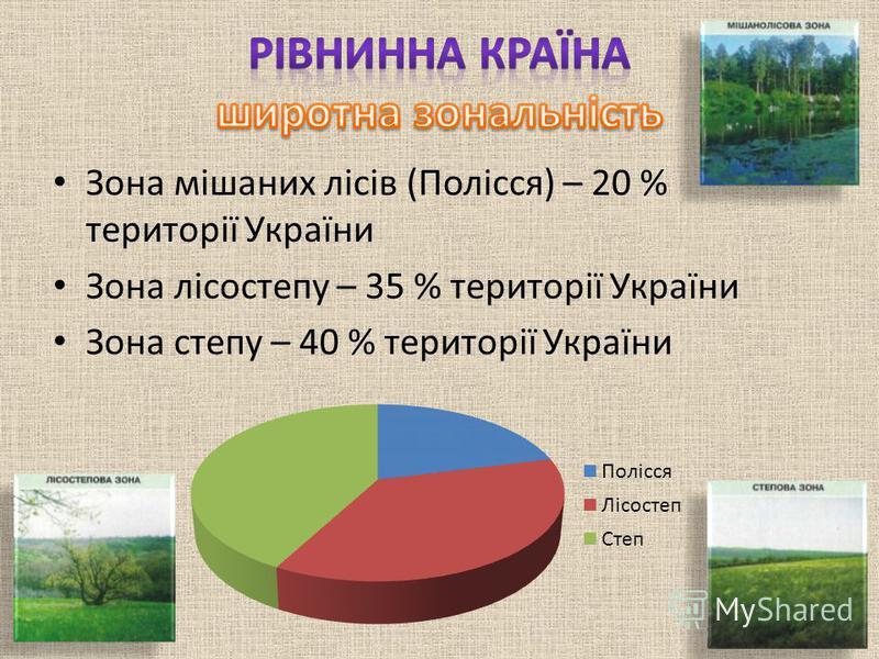 Зона мішаних лісів (Полісся) – 20 % території України Зона лісостепу – 35 % території України Зона степу – 40 % території України
