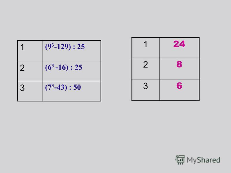 1 (9 3 -129) : 25 2 (6 3 -16) : 25 3 (7 3 -43) : 50 1 24 2 8 3 6